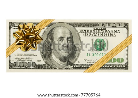 Money and bow isolated on white background - stock photo