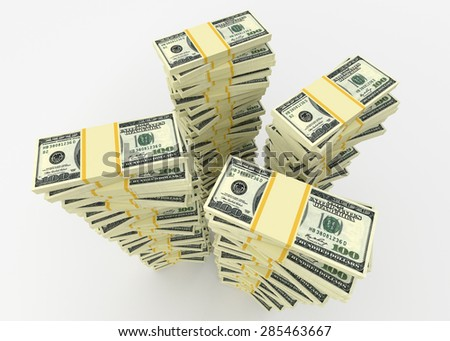 Money and business concept - stack of many dollars usa banknotes - stock photo