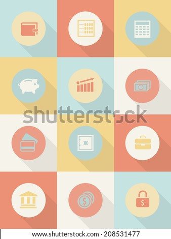 Money and business icons set. - stock photo