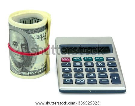Money and calculator, isolated on white background - stock photo