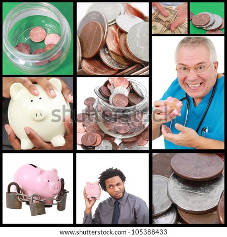 Money and finance collage - stock photo