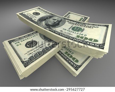 Money and finance concept - many dollars banknotes - stock photo