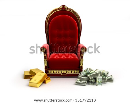 money and gold lie next to an empty throne - stock photo