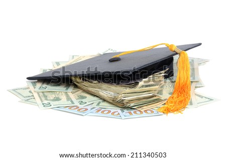 money and graduation cap isolated white background - stock photo