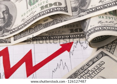 Money and graph - stock photo