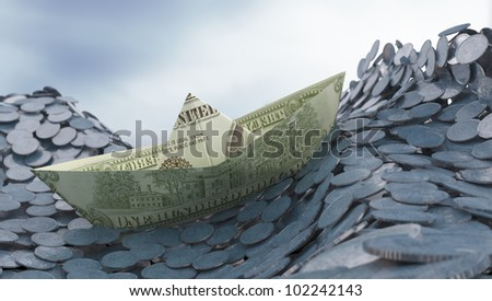 Money and investment concept - Dollar paper ship on a coin ocean - stock photo