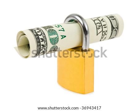 Money and lock isolated on white background - stock photo