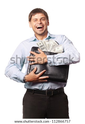 Money and man on the white background. Happy businessman - stock photo