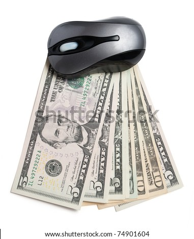 Money and pc mouse isolated on white - stock photo