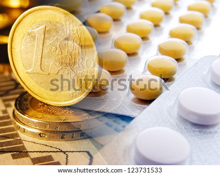 Money and  pills. Modern medicine concept. - stock photo