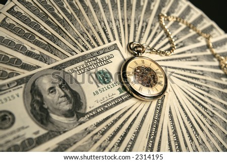 Money and pocket watch - stock photo