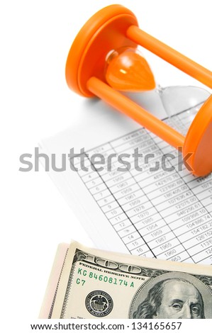Money and sand-glass for documents. - stock photo