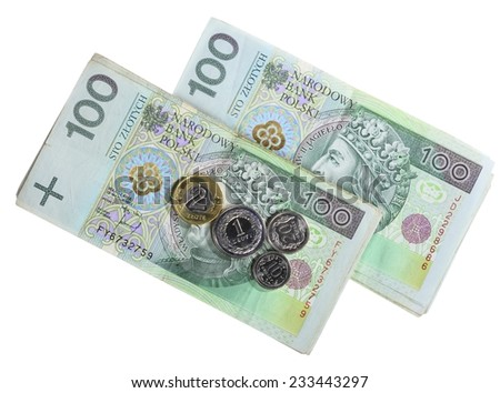 Money and savings concept. Stack of 100's polish zloty banknotes coins currency isolated on white - stock photo