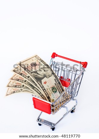 money and shopping cart - stock photo