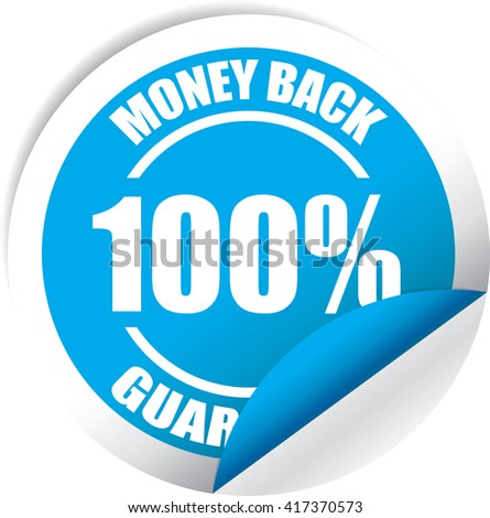 Money back Guarantee Blue Label, Sticker, Tag, Sign And Icon Banner Business Concept, Design Modern. - stock photo