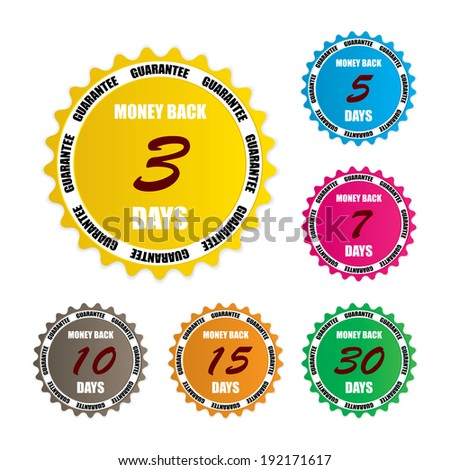 Money back guarantee over colorful circle sticker and label  - stock photo