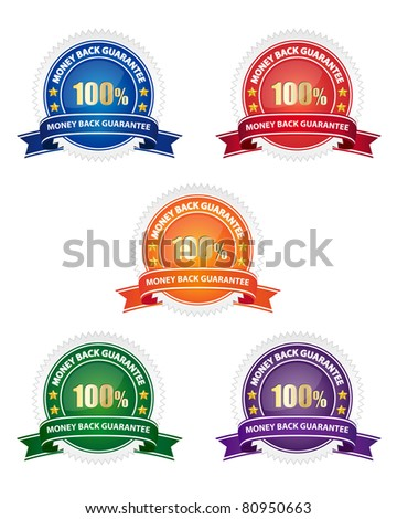 Money back guarantee seal. Vector available. - stock photo