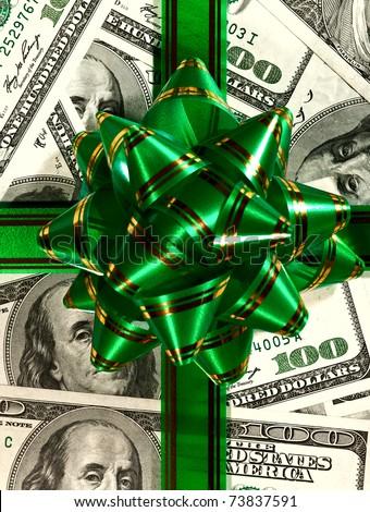 Money background from hundred bucks banknotes - stock photo