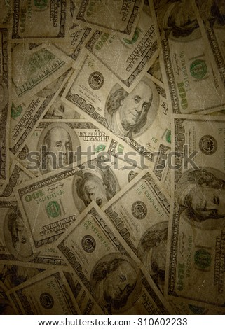 Money background of $100 bills in US currency - stock photo