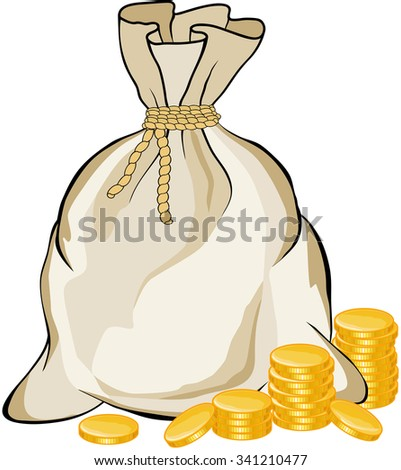 Money bag and golden bank coins on white background illustration - stock photo