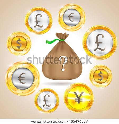 Money bag. Currency - the dollar - the euro - pound sterling - Yen. Illustration - stock photo
