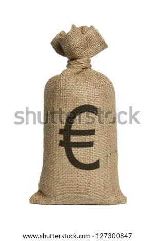 Money bag from Euro isolated on a white background. - stock photo