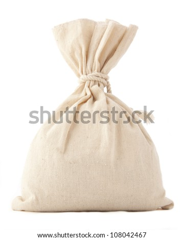 Money Bag  isolated on white with space  for inscriptions - stock photo