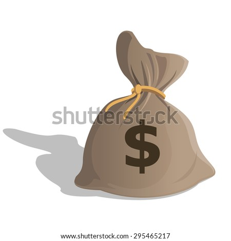Money bag or sack cartoon style icon with dollar sign isolated on white background. illustration - stock photo