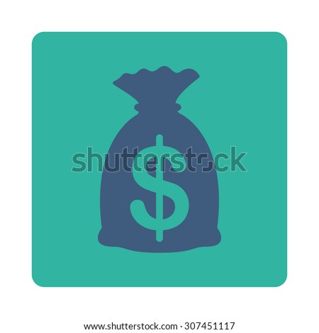 Money Bag raster icon. This flat rounded square button uses cobalt and cyan colors and isolated on a white background. - stock photo