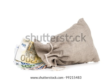 Money bag with different euro banknotes in it - stock photo