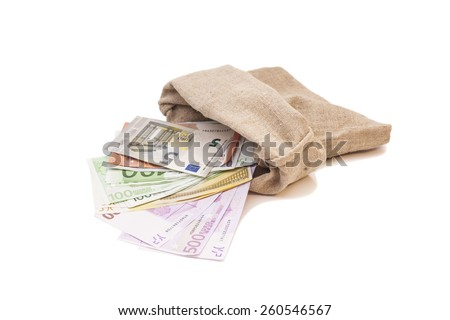 money bag with different euro bills isolated - stock photo