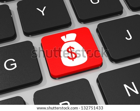 Money bag with dollar sign key on keyboard of laptop computer. 3D illustration. - stock photo