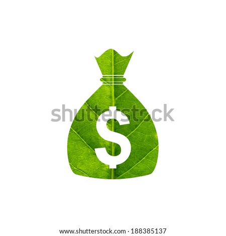 Money bag with dollar sign made of green leaf isolated on white background - stock photo