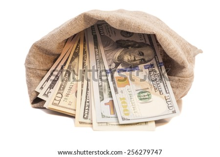 money bag with dollars  - stock photo