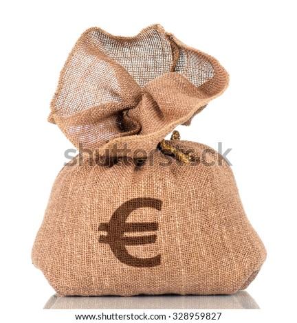Money bag with Euro sign, isolated on white background - stock photo