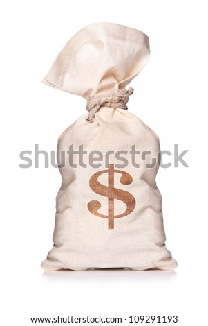 Money bag with US dollar sign against white background - stock photo