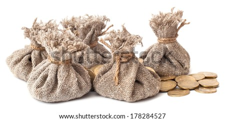 money bags with coins isolated on white background - stock photo