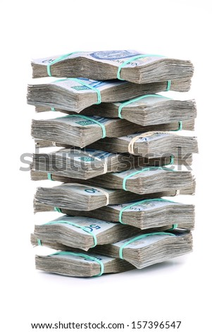 money banknote stack over white background - stock photo