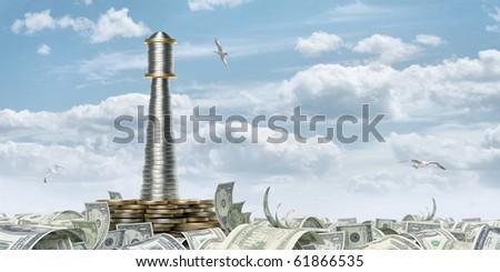 Money beacon - stock photo