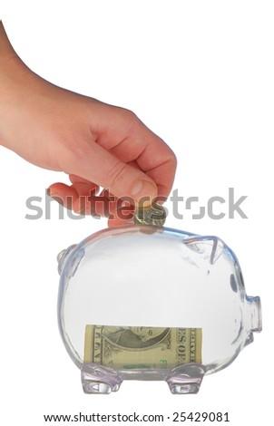 money box in form transparent plastic pig - stock photo