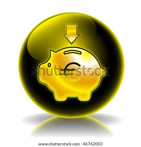 Money box income glossy icon - stock photo