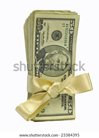 Money Bundles with Ribbon $50 - stock photo