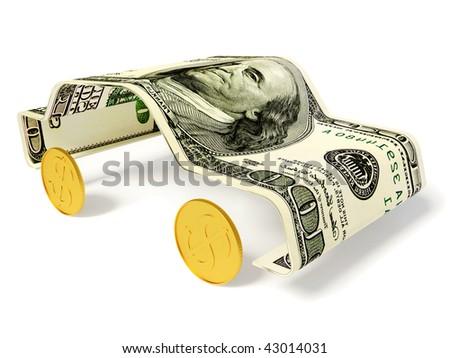 money car on white background - stock photo