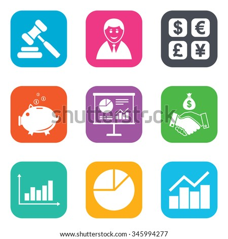 Money, cash and finance icons. Handshake, piggy bank and currency exchange signs. Chart, auction and businessman symbols. Flat square buttons.  - stock photo