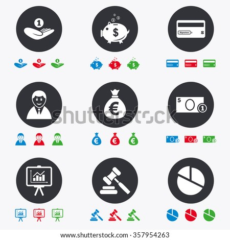 Money, cash and finance icons. Piggy bank, credit card and auction signs. Presentation, pie chart and businessman symbols. Flat circle buttons with icons. - stock photo