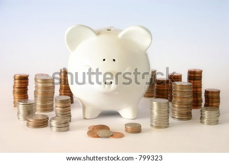 "Money ""Cents"": It's never too early to start saving for baby's future and every penny counts! - stock photo"