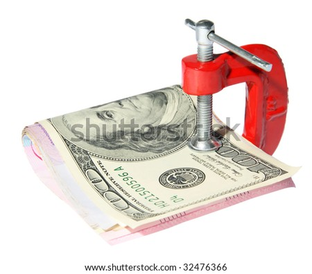 Money clamped in the clamp on a white background - stock photo