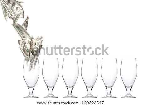 money Cocktail. Business leader concept  isolated on a white background - stock photo