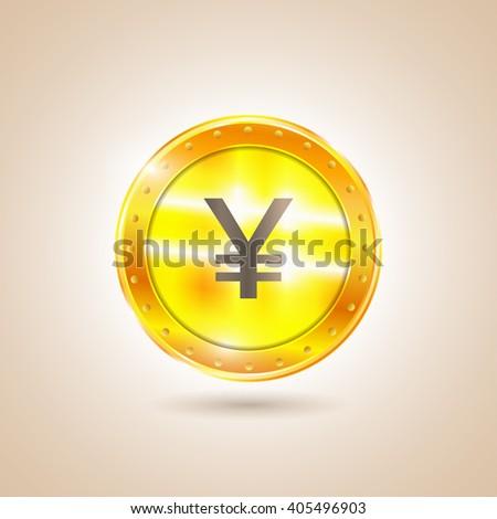 Money - Coin yen. Illustration - stock photo