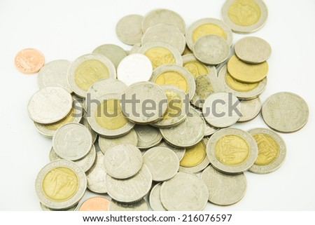 Money Coins Thai Baht on white background - stock photo
